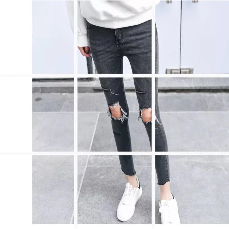 [NEW] Ripped Jeans : Black / Grey