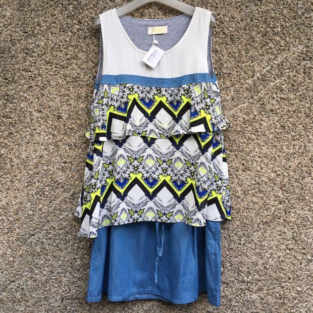 Pattern Drawstring Dress