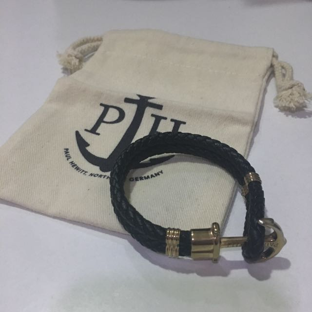 Paul Hewitt 皮革船錨手環(玫瑰金)PH