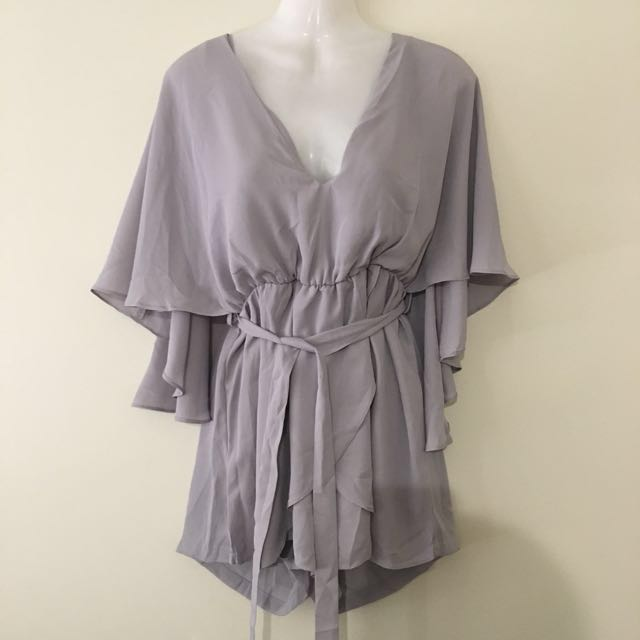 Peppermayo Grey Cape Playsuit