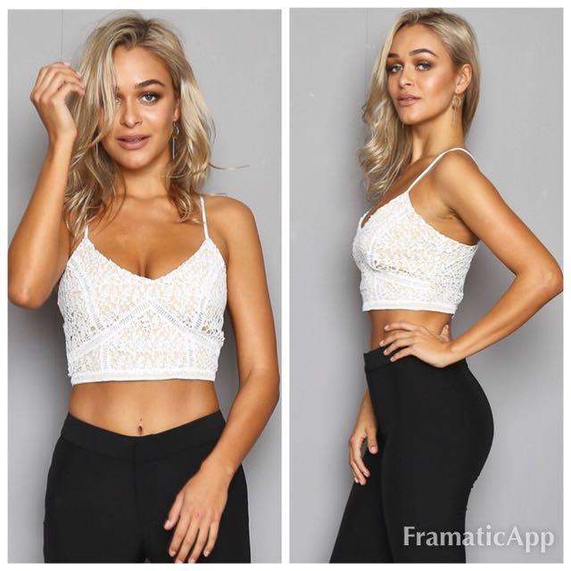💐Popcherry Size L(12) White Lace Crop Top