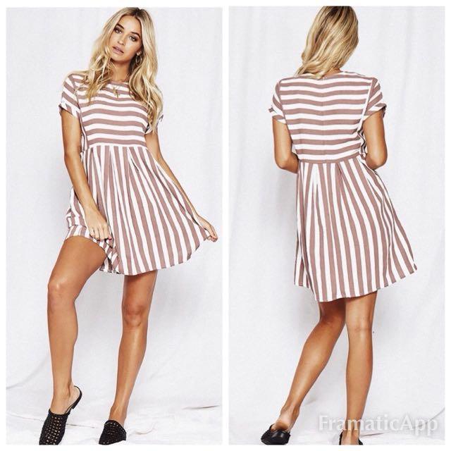 🌻Popcherry Size M(10) Purple Stripe Dress