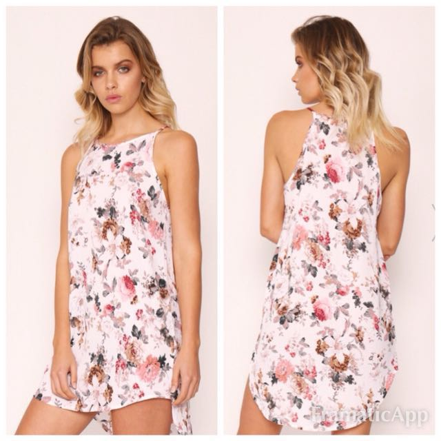 🍄Popcherry Size M(10) White Floral High Low Dress