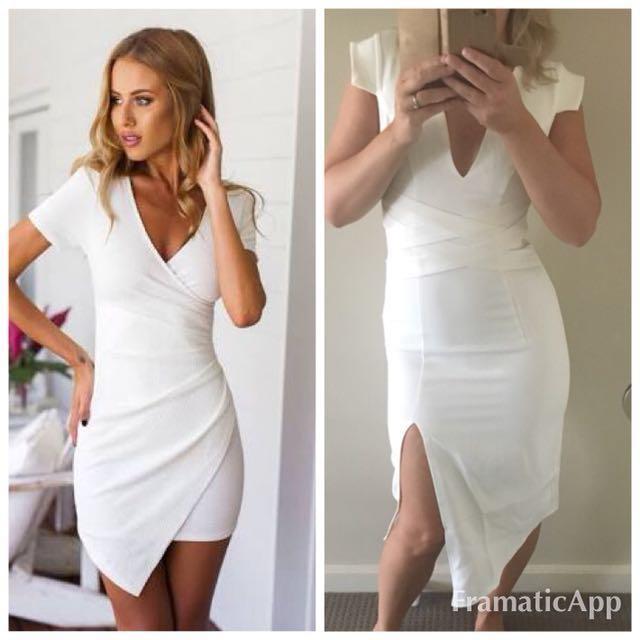 🍄Popcherry Size M(10) White Midi Bodycon Dress