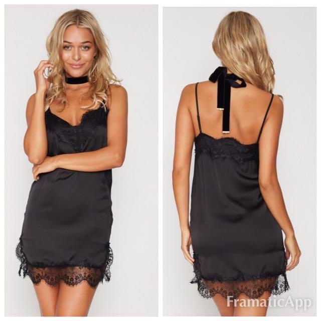 💐Popcherry Size S(8) Black Lace Slip Dress