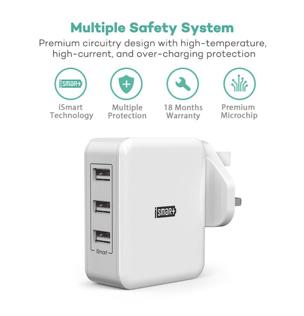 RAVPower USB Charger Plug 30W Fast Chargers 6A 3-Port Mains Wall Charger Power Adapters with iSmart 2.0 – White