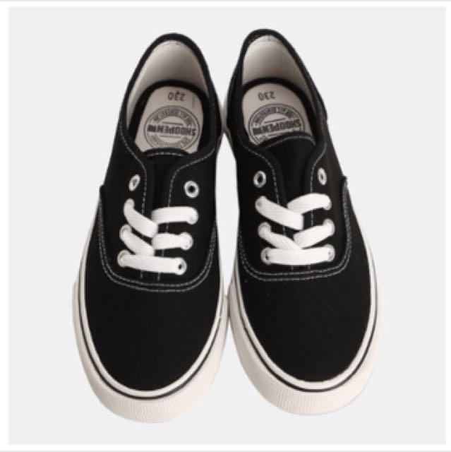 (急售可議)韓國shoopen全新黑色帆布鞋 類似vans #換季五折