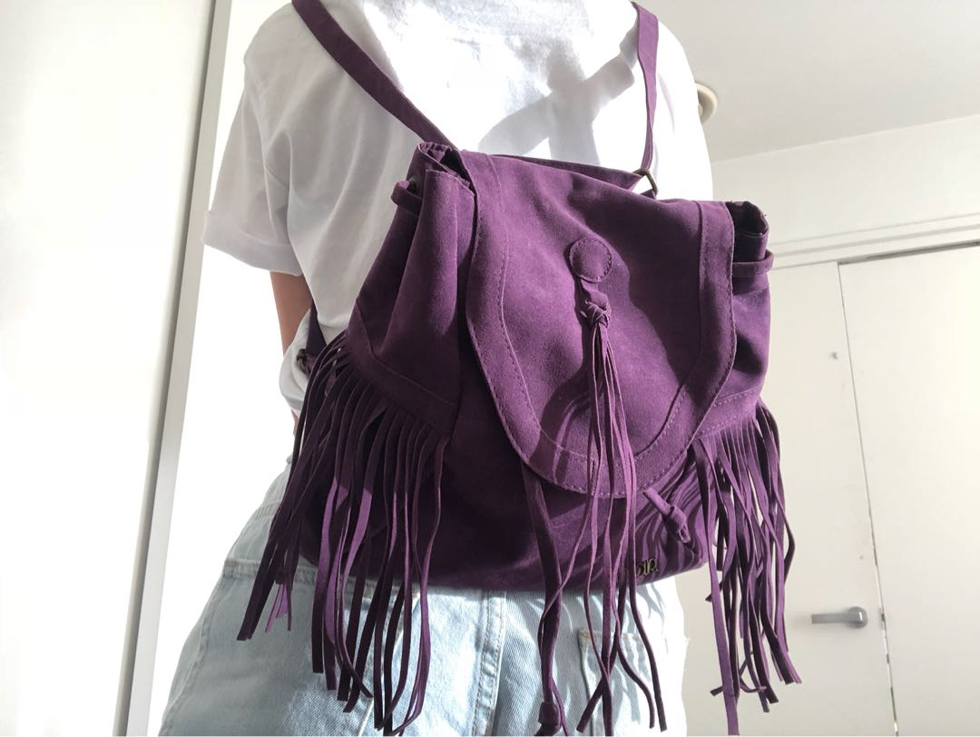 Small suede backpack