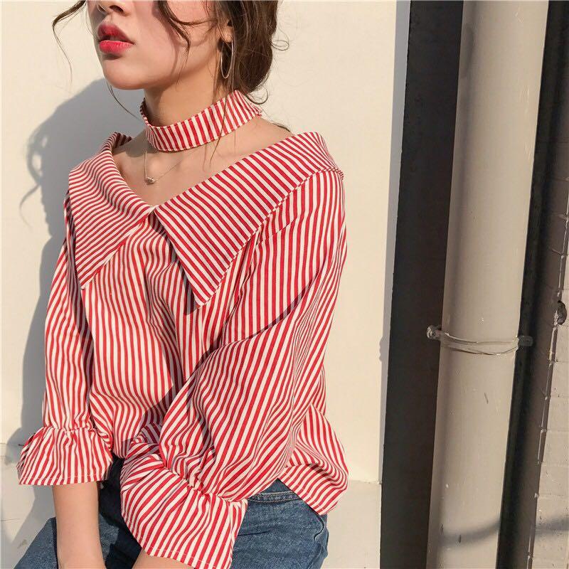 Striped Collar Choker Long Sleeve Blouse Shirt