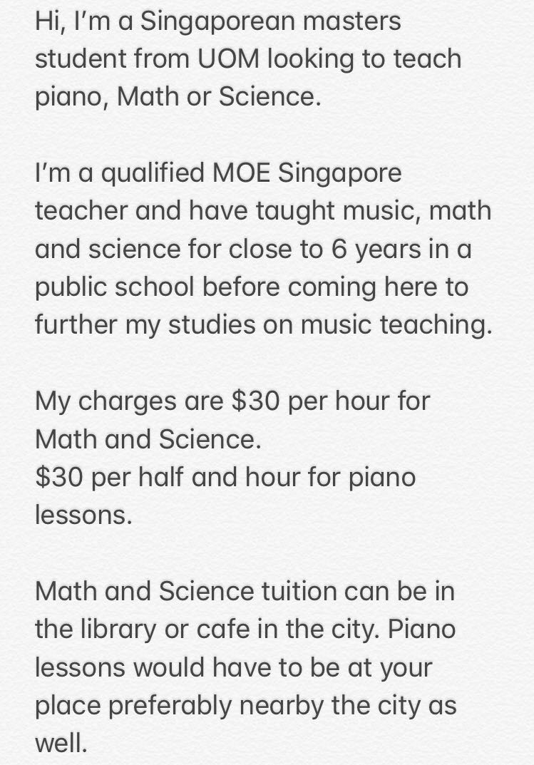 Tuition for Piano, Math or Science