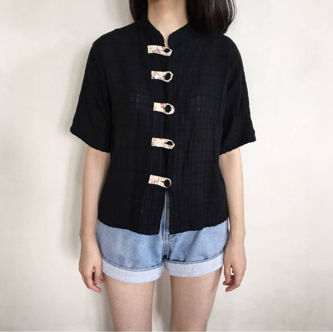 Vintage Black China Shirt