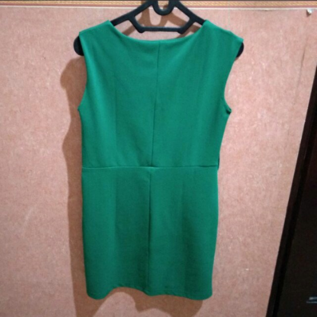 👗Vioale Green Simple Dress | Gaun Span Hijau