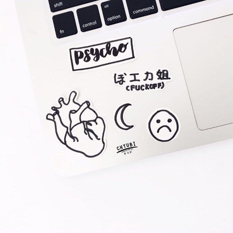 Waterproof Stickers Tumblr Handmade Hand Made Drawn Monochrome