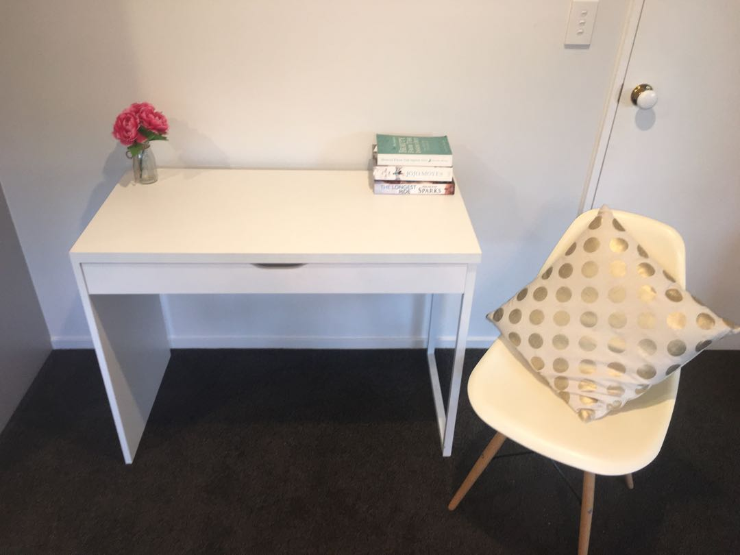 White desk, chair and cushion for sale