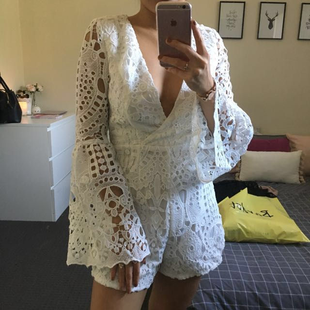 White Embroidered playsuit size 8
