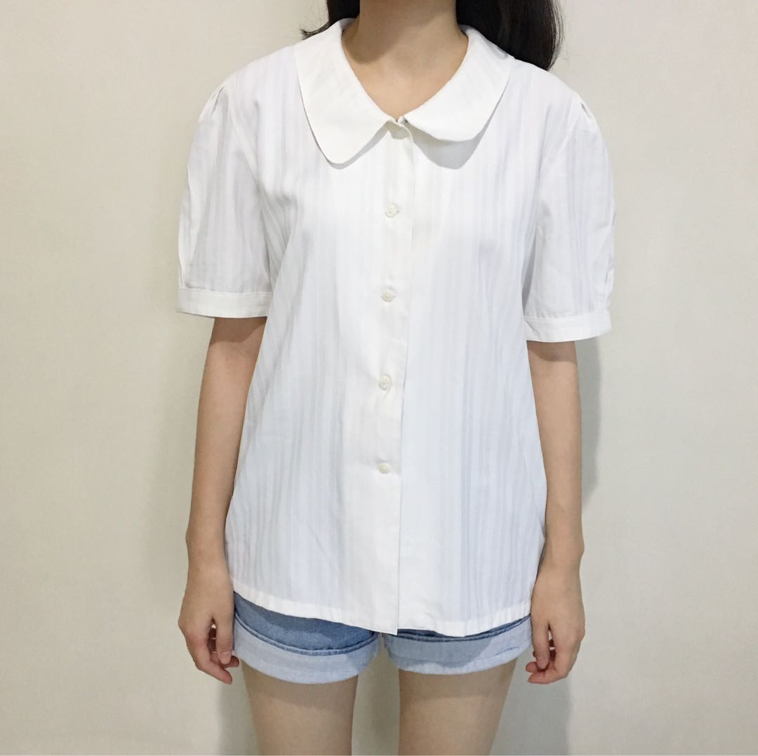 White Peterpan Collar Shirt