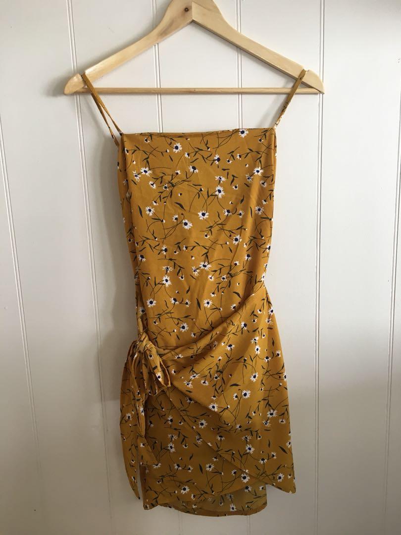 Yellow floral sundress wrap dress size S