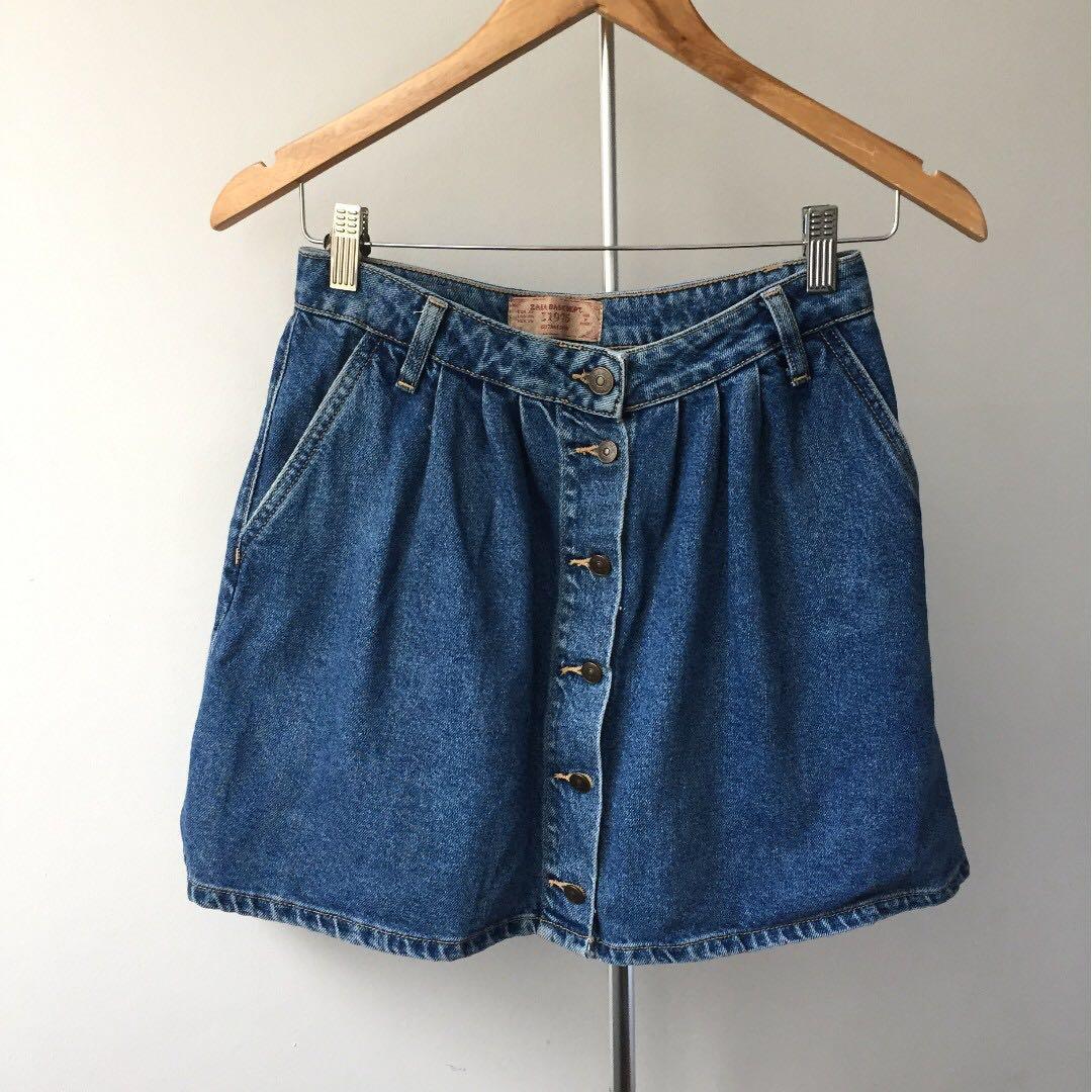 Zara Denim Button up skirt