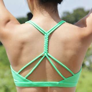Genesis Braided-Back Sports Bra in Vermillion Green [INSTOCK]