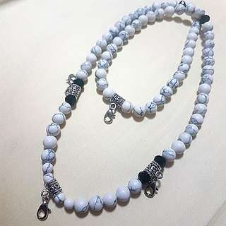 Amulet necklace (design 6) white beads with semi crystal stones with easy hook