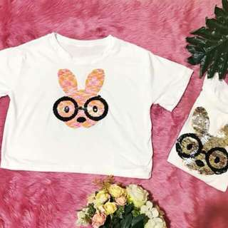 🌈TWO-SEQUINS TOPS (bunny print)