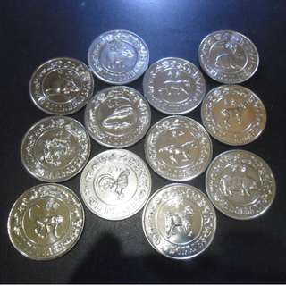 1981 - 1992 Singapore Lunar $10 Nickel Proof-Like Coin (Lot of 12 pcs)