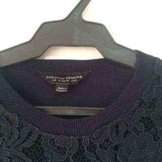 Dorothy Perkins Navy Blue Lace Knit Top