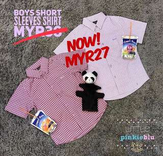 Boy's Big Chequered Short Sleeves Shirt