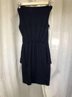 Navy blue office peplum dress