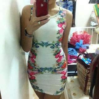 F Block Flowery Dress