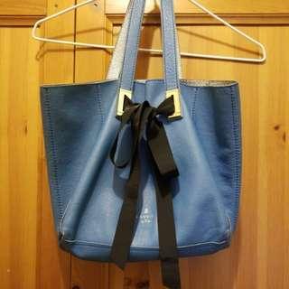 LANVIN en Bleu真皮藍色內銀色袋購自日本