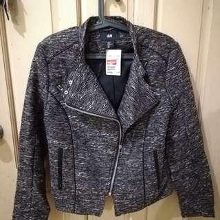 BNEW H&M metallic silver glitter biker jacket blazer crochet