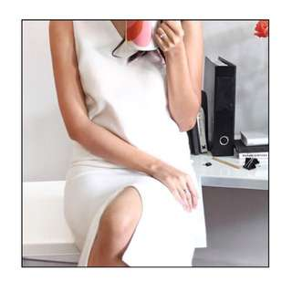 White Midi Straight-Cut Dress With Front Slit (Size S)