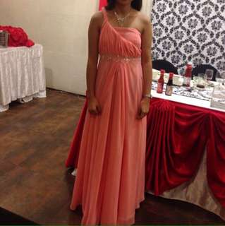 Pink long gown for rent