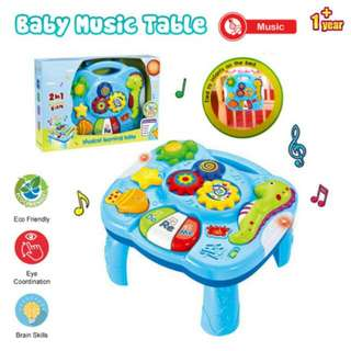 FREE POS Ready Stock 2 In 1 Baby Kids 27cm Table Piano Music LED Learning Toys Education Table
