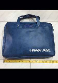 Rare Unused 1960's Authentic Blue Vinyl Pan Am America Flight Pilot Officer Day Travel Document Laptop Briefcase Luggage Hand Bag Catch Me If You Can