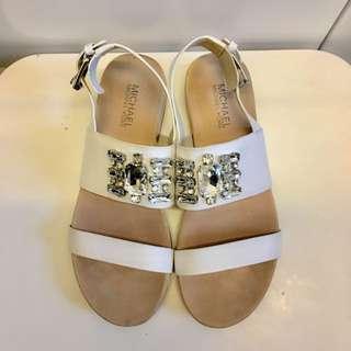 MICHAEL Michael Kors Luna crystal-embellished leather sandals