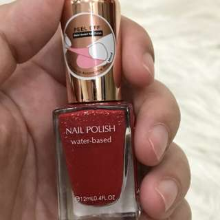 Miniso nail polish peel off water based shimmer red atau kutek miniso