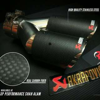 AKRAPOVIC TWIN EXHAUST TIP CARBON FIBRE 2.5INCH UNIVERSAL