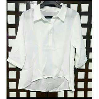 White Polo Blouse 3/4 sleeves