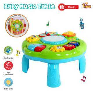FREE POS Ready Stock 2 In 1 Baby Kids 30cm Table Piano Music LED Learning Toys Education Table
