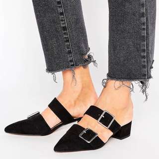 ASOS SIESTA black pointed mule flats shoes