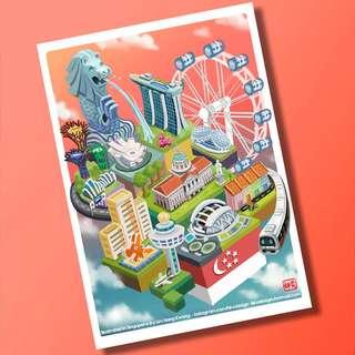 Landmarks of Singapore Postcard