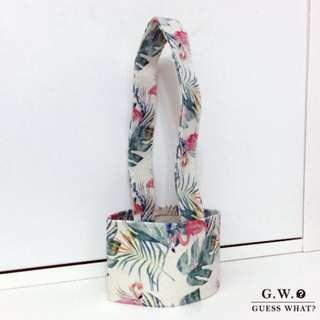 GW 【熱帶一杯袋】叢林紅鶴 飲料提袋 環保袋  手提袋 飲料袋 環保必備 手搖杯 咖啡杯 GUESSWHAT