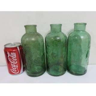 早期收藏幾十年前的綠色氣泡老中藥玻璃瓶罐-3件一標
