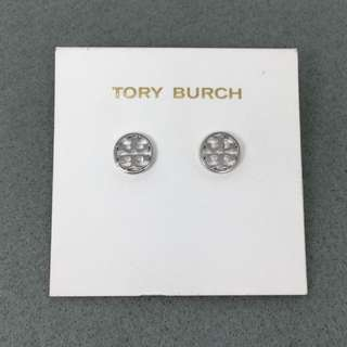 Tory Burch Sample Earrings 銀色圓形經典logo耳環