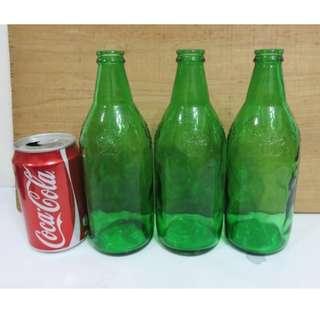 早期收藏綠色有些氣泡老梅花玻璃瓶-3個一標