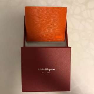 Salvatore Ferragamo Leather Wallet Bi-fold Orange Navy White