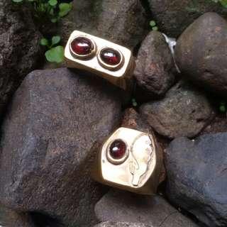 MURAH batu red garnet ring kuningan motif. biduri bulan, indocrase lumut aceh.