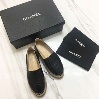 CHANEL Black Leather CC Espadrilles